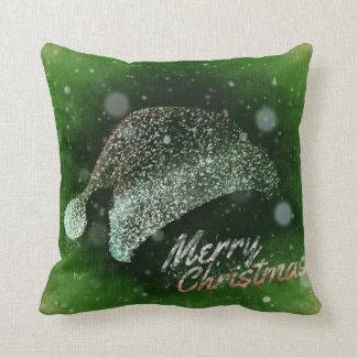 Decorative Glitter Santa Hat Merry Christmas Cushion