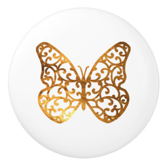 Decorative Gold Butterfly with swirls in wings Ceramic Knob