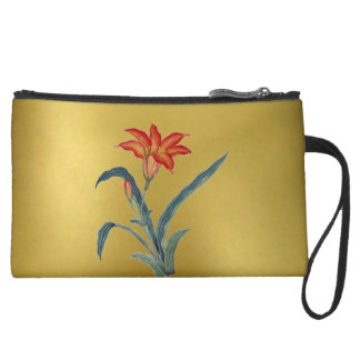 Decorative Gold Floral Art Wrist Bag