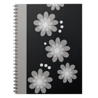 Decorative Gray Floral Pattern Spiral Bound Notebook