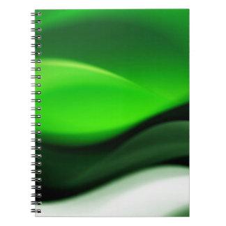 Decorative Green Abstract Waves Digital Art Spiral Notebooks