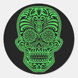 Decorative Green and Black Sugar Skull Round Sticker