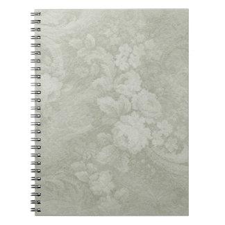 Decorative Green Floral Spiral Notebook