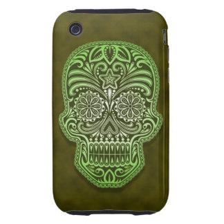 Decorative Green Sugar Skull Tough iPhone 3 Cases