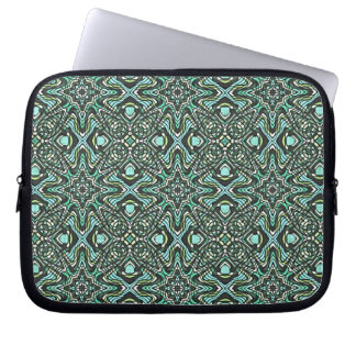 Decorative Groovy Star Pattern Damask Abstract Art Laptop Sleeve