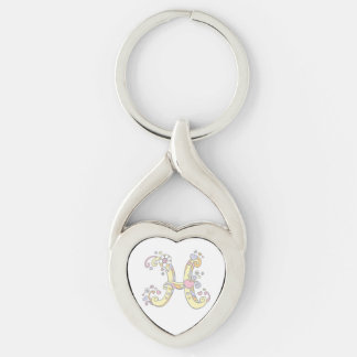 Decorative hearts flowers initial letter H keyring
