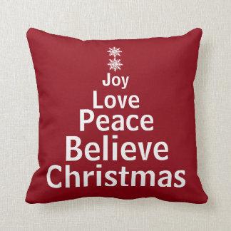Decorative Holiday Christmas Word Tree Cushion