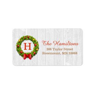 Decorative Holly Christmas Wreath Monogram Holiday Label