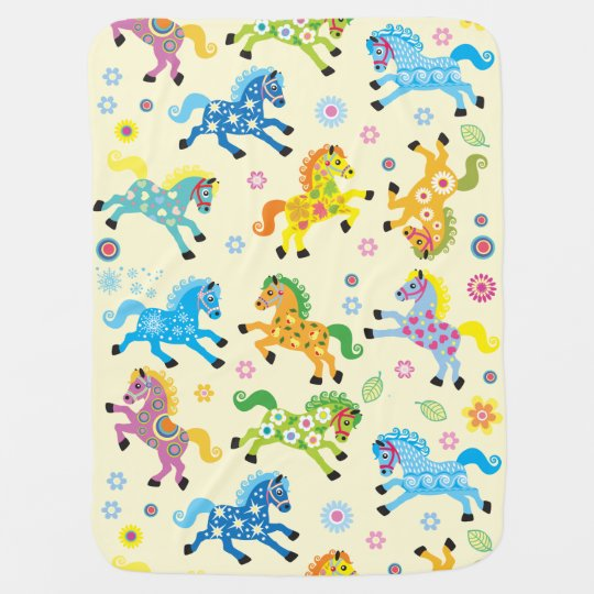 decorative horses baby blanket