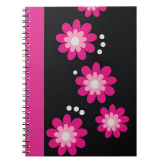 Decorative Hot Pink Floral Pattern Spiral Bound Spiral Notebook