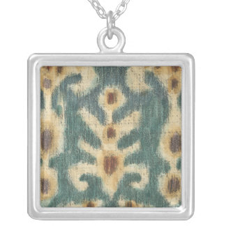 Decorative Ikat Fabric Design by Chariklia Zarris Silver Plated Necklace