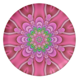 Decorative kaleidoscope art plate Popping Pink