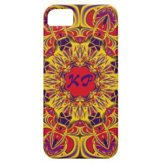 Decorative kaleidoscope design & monogram barely there iPhone 5 case