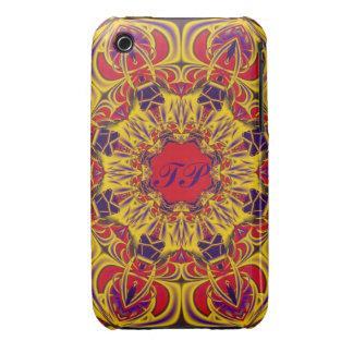 Decorative kaleidoscope design monogram iPhone 3 cases