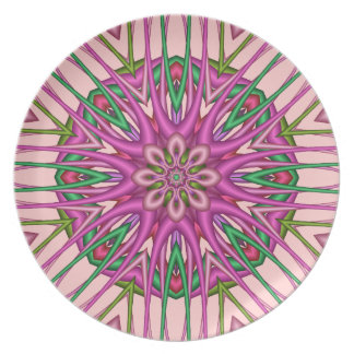 Decorative kaleidoscope plate in soft pink & green