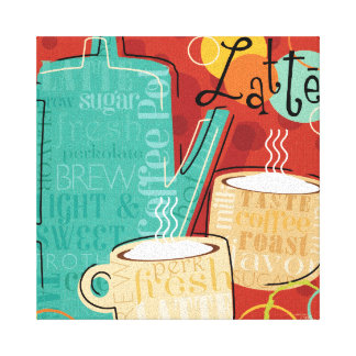 Decorative Latte Pot and Cups Gallery Wrap Canvas