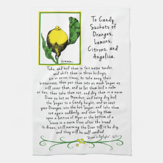 Decorative Lemon Art Tea Towel with Antique Recipe
