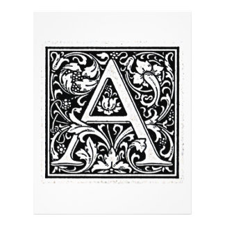 "Decorative Letter ""A"" Woodcut Woodblock Inital 21.5 Cm X 28 Cm Flyer"