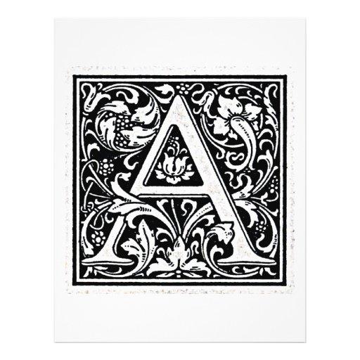 "Decorative Letter ""A"" Woodcut Woodblock Inital Flyer"
