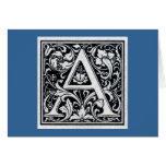 "Decorative Letter ""A"" Woodcut Woodblock Inital Greeting Card"