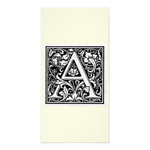 "Decorative Letter ""A"" Woodcut Woodblock Inital Customized Photo Card"