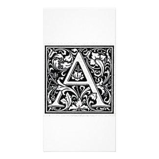 Decorative Letter A Woodcut Woodblock Inital Photo Card