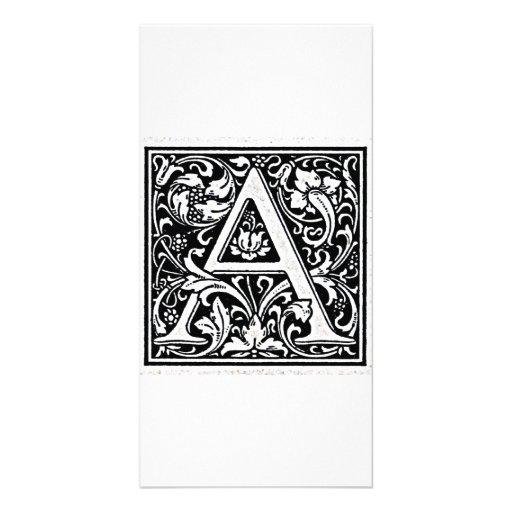 "Decorative Letter ""A"" Woodcut Woodblock Inital Photo Card"