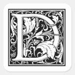 Decorative Letter D Square Stickers