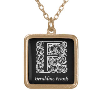 Decorative Letter F Monogram Initial Personalized Gold Plated Necklace