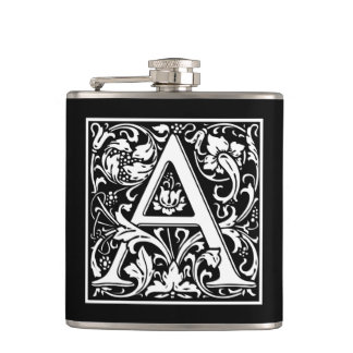 "Decorative Letter Initial ""A"" Hip Flask"