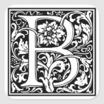 "Decorative Letter Initial ""B"" Square Sticker"