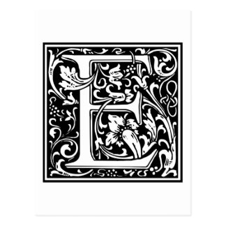 "Decorative Letter Initial ""E"" Postcard"