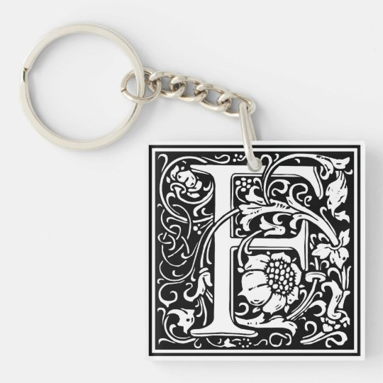 "Decorative Letter Initial ""F"" Single-Sided Square Acrylic Key Ring"