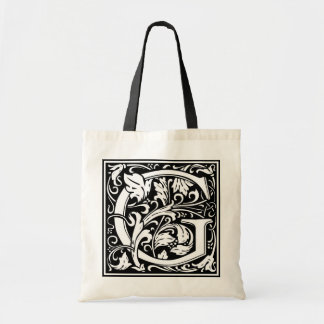 "Decorative Letter Initial ""G"" Tote Bag"