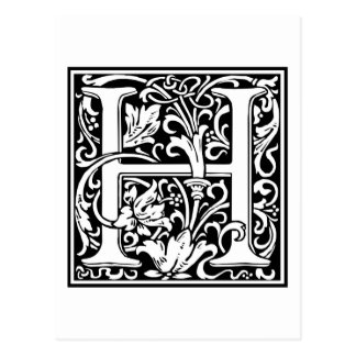 "Decorative Letter Initial ""H"" Postcard"