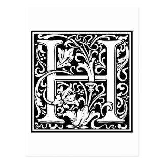 "DecorativeLetter Initial ""H"" Postcard"