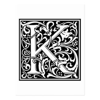 "DecorativeLetter Initial ""K"" Postcard"