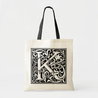 "Decorative Letter Initial ""K"" Tote Bag"