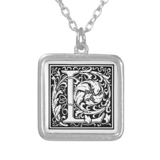 "Decorative Letter Initial ""L"" Silver Plated Necklace"