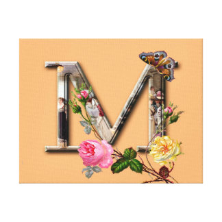 "Decorative Letter Initial ""M"" Canvas Print"