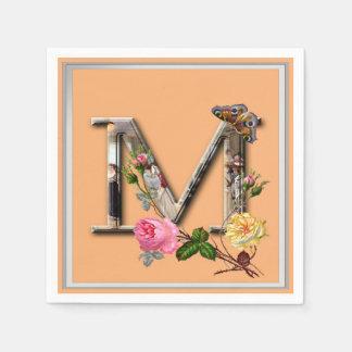 """Decorative Letter Initial """"M"""" Disposable Serviettes"""