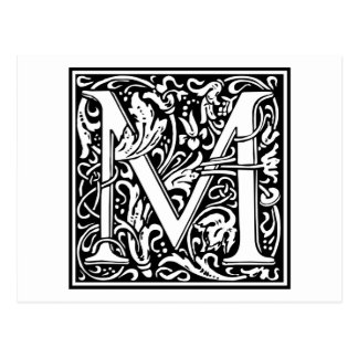 "Decorative Letter Initial ""M"" Postcard"