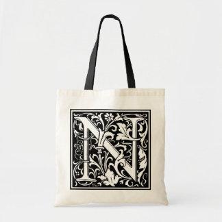 """DecorativeLetter Initial """"N"""" Tote Bag"""