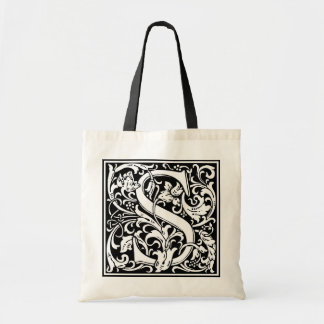 "Decorative Letter Initial ""S"" Tote Bag"