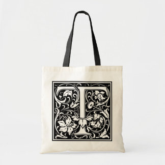 "Decorative Letter Initial ""T"" Tote Bag"