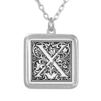 "DecorativeLetter Initial ""X"" Square Pendant Necklace"
