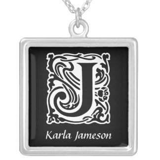 Decorative Letter J Monogram Initial Personalised Necklaces