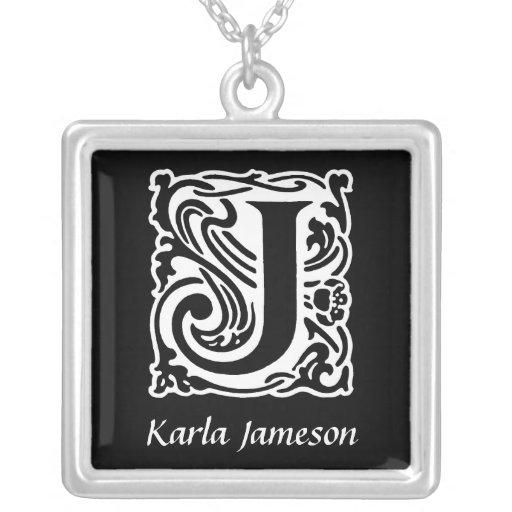 Decorative Letter J Monogram Initial Personalized Necklaces
