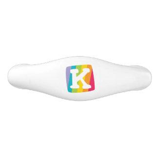 Decorative letter K monogrammed rainbow knob