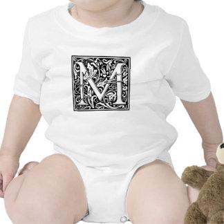 Decorative Letter M Baby Bodysuit